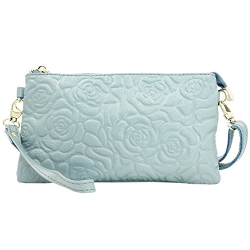 Sanxiner Leather Print Crossbody Purse Wristlet Wallet Clutch Ladies Wrist (Light Blue Leather Bags)