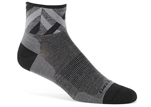 1/4 Cycling Sock - Darn Tough Men's 1/4 Ultra Light Bike Socks (X-Large, Black/Gray)