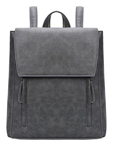 Hopeeye Backpack Leather Bag Vintage Fashion Women March Elegant Smart Casual College School Trip Vintage Brown Bag Light Gray