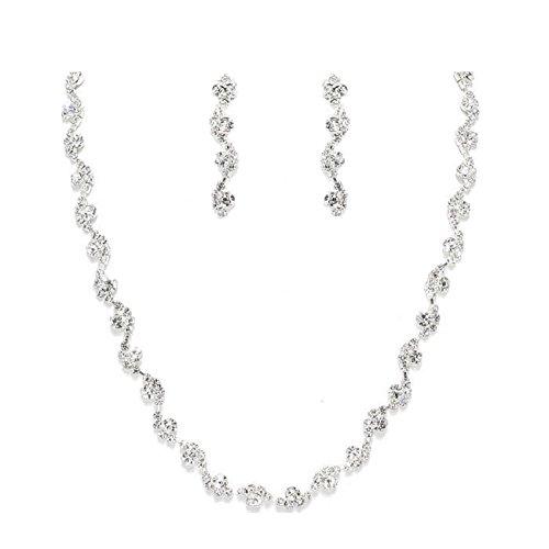 De Mariage Kit Bijoux Fine chaîne longue Boucles d'oreilles Cristal Transparent