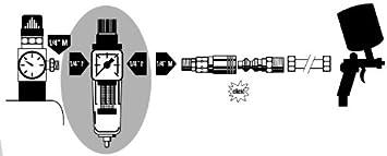 6,35 mm Mecafer 152168M Filtro depuratore da 10 micron con uscita femmina 1//4