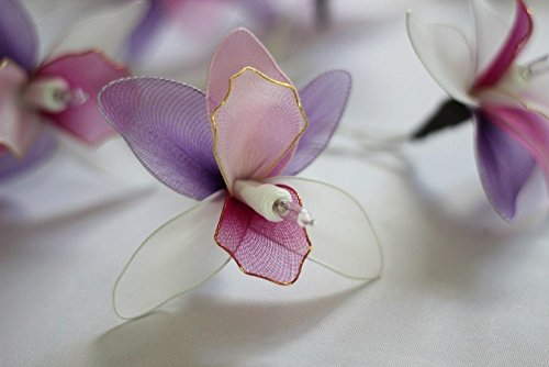 Thai Handmade 20 Romantic Orchid Handmade Flower Fairy String Lights Patio Wedding Party Vanity Kid Wall Lamp Floral Home Decor 3m (Pink Purple)