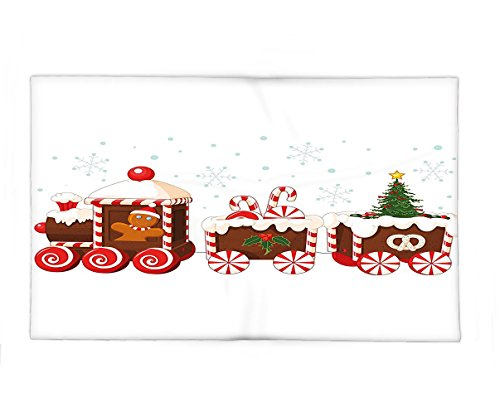 Interestlee Fleece Throw Blanket Christmas Train made of Gingerbread Cream and Candy Cartoon Toys Snowflakes Gifts Presents White Brown Red
