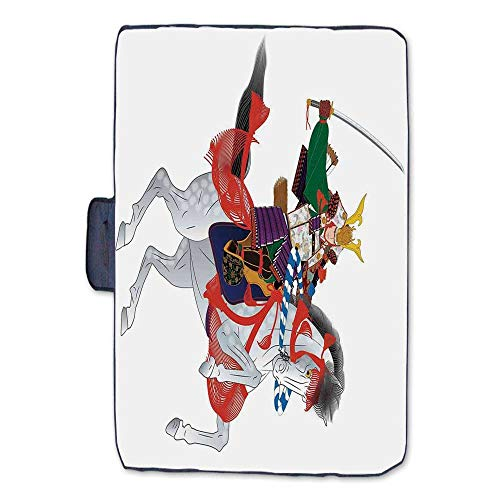 TecBillion Japanese Outdoor Picnic Blanket,an Asian Soldier with Local War Clothes Armour Riding a Prancing Horse Illustration Mat for Picnics Beaches Camping,50