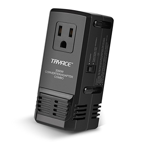 Price comparison product image TryAce 2000W Worldwide Travel Converter and Adapter Set Down Voltage 240V to 110V Combo International Voltage Converter for Hair Dryer Phones Laptop All in One Plug Adapter Wall Charge for UK / AU / US / EU