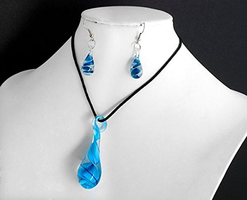 Ecloud Shop Unique Teardrop shaped Lampwork Murano Glass Bead Fashion blue Pendant Earring Set