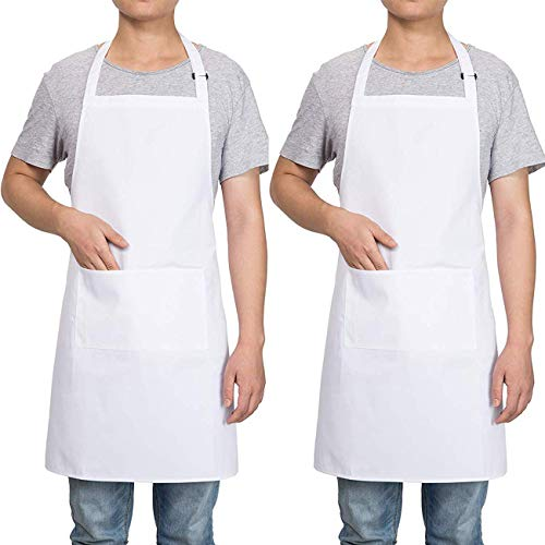 Homsolver 2 Pack Adjustable Bib Apron with 2 Pockets Liquid Drop Waterdrop Resistant Cooking Kitchen Restaurant Bar Apron Black Aprons Chef Apron Unisex Aprons for Women Men