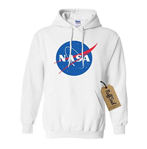 NuffSaid NASA Worm Logo Hooded Sweatshirt Sweater Pullover - Unisex Hoodie (Medium, White)