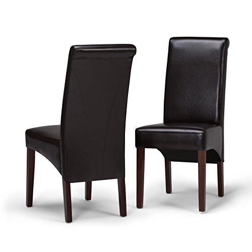 Simpli Home WS5134 Avalon Contemporary Deluxe Parson Dining Chair (Set of 2) in Tanners Brown Faux Leather