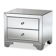 "Baxton Studio Floressa Hollywood Regency Glamour Style Mirrored 2-Drawer Nightstand, ""Silver"" Mirrored"