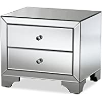 Baxton Studio Floressa Hollywood Regency Glamour Style Mirrored 2-Drawer Nightstand, Silver Mirrored