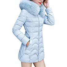 TIFENNY Womens Hooded Outwear Winter Warm Coat Long Thick Fur Collar Cotton Parka Slim
