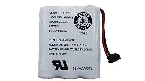 Uniden BT-905 Replacement Rechargeable Battery For many Uniden Phone Systems and Cordless Handsets, Nickel Metal Hydride Rechargeable Battery, DC 3.6V 600mAh (Uniden D1680 Cordless Phone)