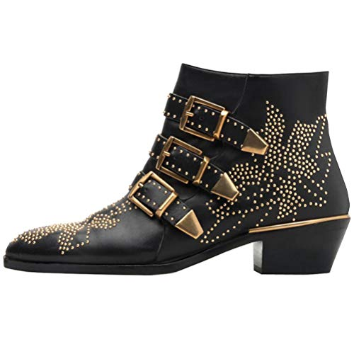 Leather Buckle Boot - Themost Ankle Boots Womens Genunie Leather Rivet Studded Buckle Strap Designer Boot Low Heel Booties Black