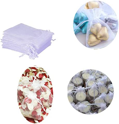 50 Organza Gift Bags For Wedding Party Love And Jewelry Pack