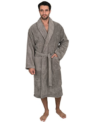 TowelSelections Men's Robe, Organic Cotton Terry Shawl Bathrobe Large/X-Large Neutral Gray - One Shot Rinse