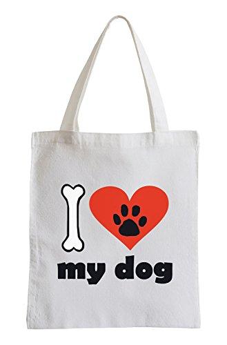 Amo il mio cane Fun sacchetto di iuta