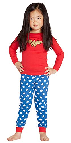 INTIMO Girls' Wonder Woman Glitter Logo Pajama Set (4T) ()
