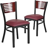 Flash Furniture 2 Pk. HERCULES Series Black Slat Back Metal Restaurant Chair - Mahogany Wood Back, Burgundy Vinyl Seat