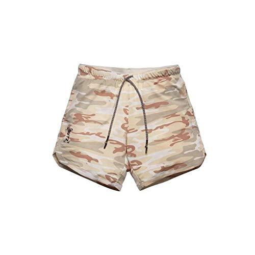 terbklf Men's Fitness Casual Shorts Slim Fit Sport Solid Color Short Pants Mens Drawstring Elastic Waist Comfy Shorts Khaki