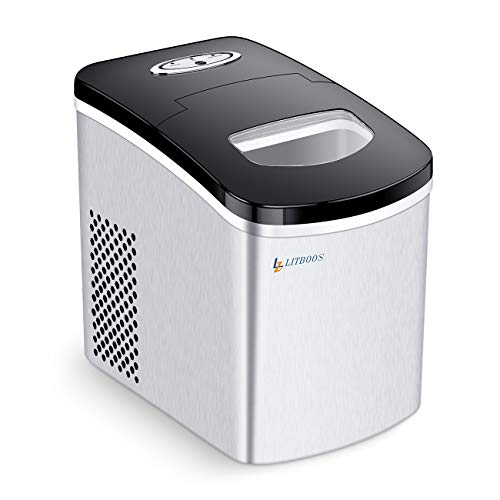 LITBOOS Portable Ice Maker - Ice Ready in 7 Minutes - 26 lb/24H Stainless Steel Countertop Ice Maker 1.5LB Ice Storage Perfect for Water Bottles Mixed Drinks - Electric Ice Machine for Home Office Bar