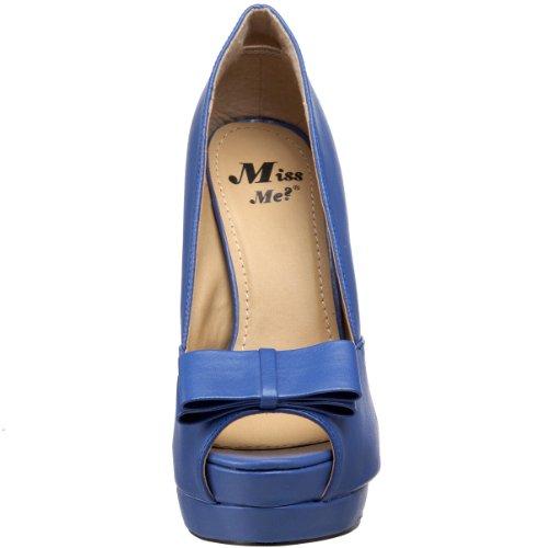 Me Manque Womens Jocelyn-12a Plate-forme Pompe Bleu