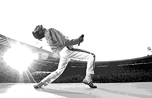 NLopezArt Freddie Mercury of Queen at Wembley 1986 Illustration Rock and Roll Music Icon Pop Art Poster Print (11x17 inches) - 17 Inch Film