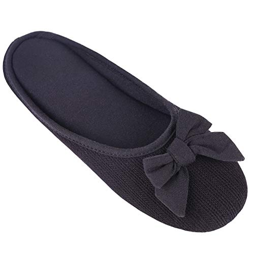 Women's Cozy Cashmere Cotton Closed Toe House Slippers with Cute Bow Accent (XLarge / 11-12 B(M) US, Black)