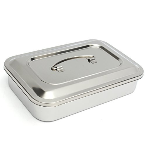 MiguCo 9.5''x6.3''x2'' Stainless Steel Instrument Tray Organizer Holder with Lid & Handle Grip