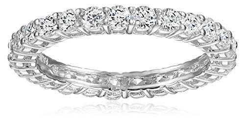 Platinum Plated Sterling Silver Round Cubic Zirconia All-Around Band Ring Size 7