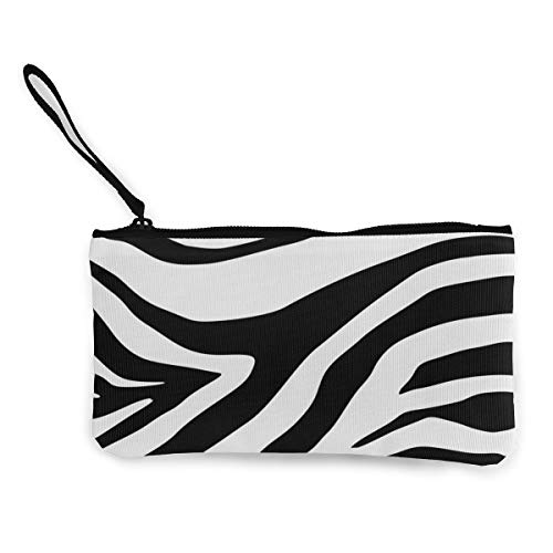 Terany Canvas Pencil Case - Zebra Print Durable Cosmetic Makeup Bag Zipper Closure Coin Purse Wallet Phone Pouch with Handle for Women Kids Adults]()