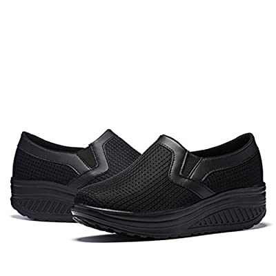 Ruiatoo Women's Soft Breathable Toning Shoes Lady Lightweight Wedges Platform Shoes   Walking