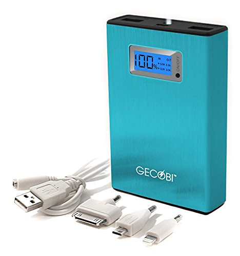 Portable Charger for Rapid Charge of iPhones, Androids, iPad, Power Bank with 2 USB-Ports,10400 mAh, LED Digital Display, Flashlight,Brushed-Metal Blue; Save the Day When a Cell Phone Goes Dead! by Gecobi