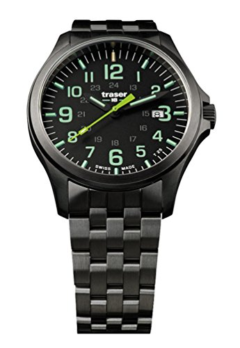 traser P67 Officer Pro Gunmetal Lime Numerals Gunmetal PVD Stainless Steel Men's Watch 107869