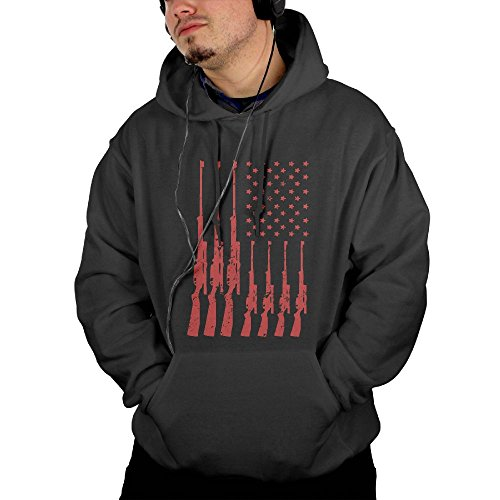 BAPALA Man Red Gun America Flag Hoodies Sweatshirt Costume Jacket Coat With Pocket - Costume Gun Top Guy