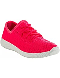 Women's Lace up Stretch Flyknit Fashion Sneakers - Lightweight Sporty Casual Flats - Low Top Walking Shoes