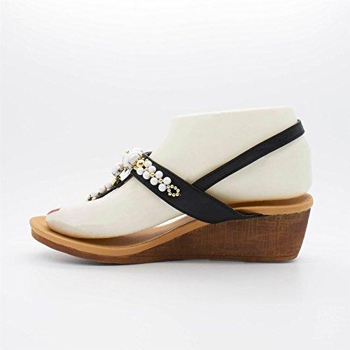 Talons Noir Femme Wedge Chaussures Londres ANKITA Sandales qUxTwwt