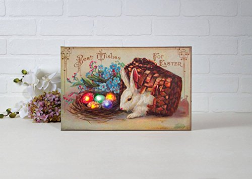 "Decorative Spring Easter Wishes Victorian Vintage Inspired Retro Lighted Stretched Canvas Wall Art Home Decoration Made in USA, Multicolor, 9"" x 14"""