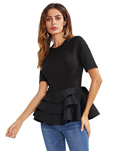 (Romwe Women's Vintage Layered Ruffle Hem Slim Fit Round Neck Peplum Blouse Black M)