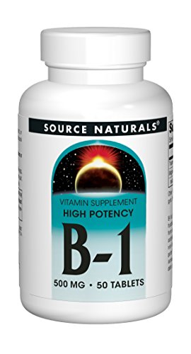 Source Naturals Vitamin B-1 Thiamin 500mg – High Potency, 100% Pure – 50 Tablets