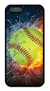 Popular Softball Fire and Ice DIY Rubber Black iphone 5/5s Case Perfect By Custom Service