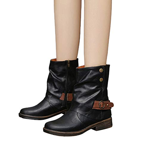 Sunhusing Women Vintage Round Toe Zipper Leather Booties Short Boots Buckle Square Heel Shoes