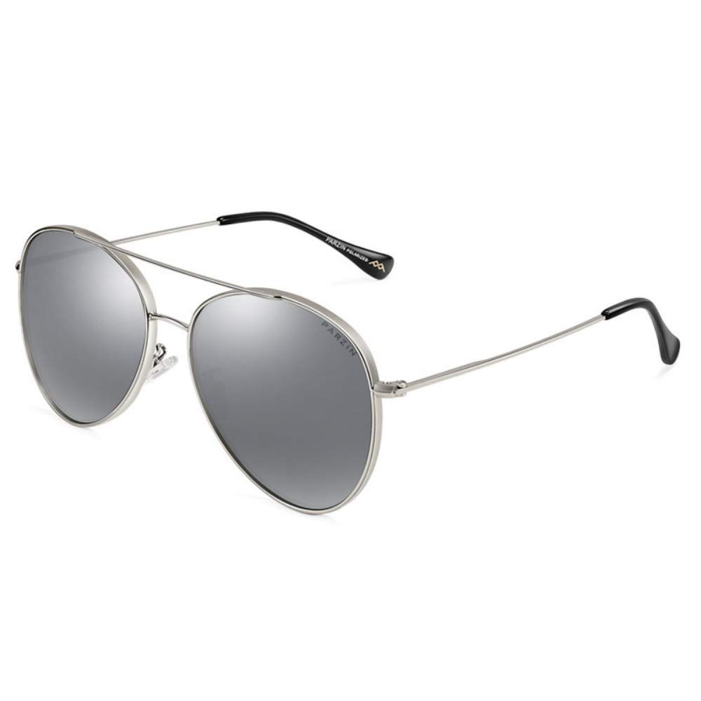 Polarized Sunglasses Metal Frame Ms. Trends Sunglasses Driving Mirror Fashion Silver Frame Water Silver Lens