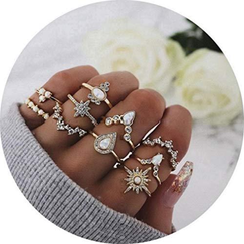 TOKO Boho Vintage Knuckle Gold Rings Set, Crystal Joint Punk Nail Ring Set for Women Girls