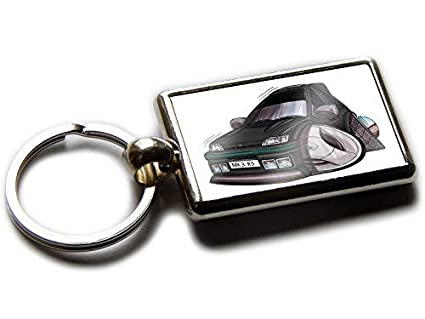 Koolart Cartoon Car Ford Fiesta RS Turbo Chrome Keyring Picture Both Sides (Black)