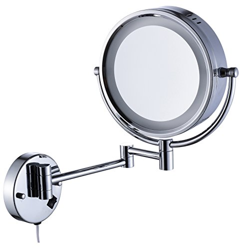 Cavoli Makeup Mirror with LED Lighted Wall Mounted 7x Magnification,Chrome Finish (8.5-inch,7x)