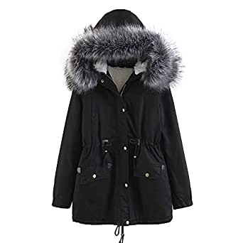 Amazon.com: Pevor Womens Parka Jacket Faux Fur Hooded