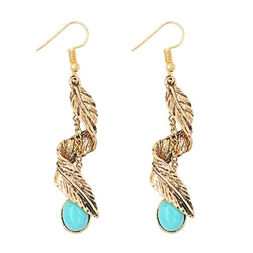 (Beauty7 Women Antique Bohemian Style Spiral Twist Feather Leaf Long Chain Tassel Turquoise Pendant Dangle Drop Earrings Fish Hook End Soiree Daily Wedding Party Gold)