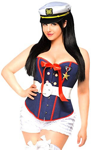 Daisy Corsets Women's 4 Piece Pin-Up Marine Costume, Blue, 2X -