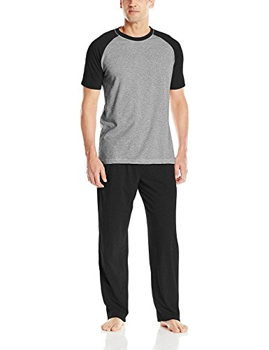 Hanes Men's Adult X-Temp Short Sleeve Tagless Cotton Raglan Shirt and Pants Pajamas Pjs Sleepwear Lounge Set - Black (Medium)